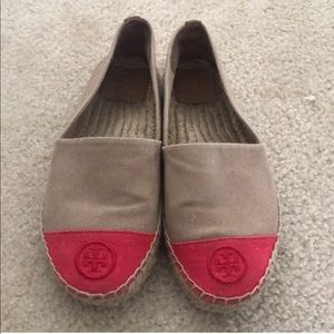 Tory Burch Pink & Tan Canvas Espadrilles Size 6.5